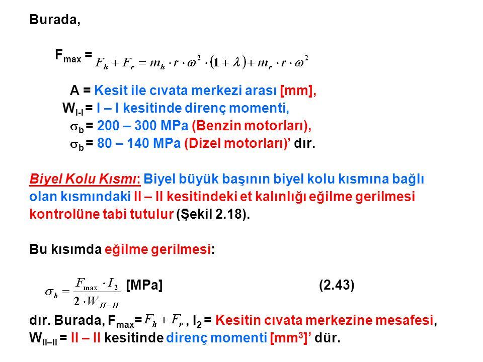 Burada, Fmax = A = Kesit ile cıvata merkezi arası [mm], WI-I = I – I kesitinde direnç momenti, b = 200 – 300 MPa (Benzin motorları),